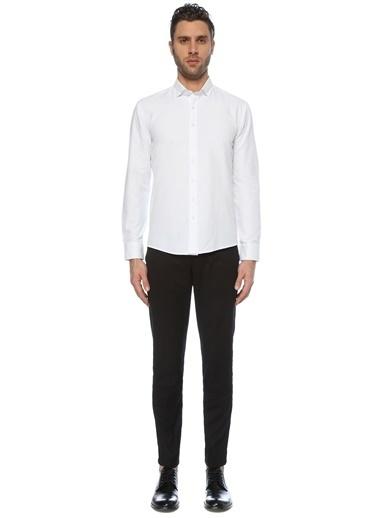 George Hogg George Hogg Italyan Yaka Slim Fit Erkek Gömlek Beyaz